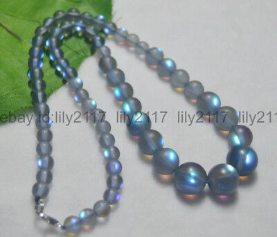 Cheap Beaded Necklaces (Flash 6-12mm Gray Gleamy Rainbow Moonstone Round Gems Beads Necklaces 18