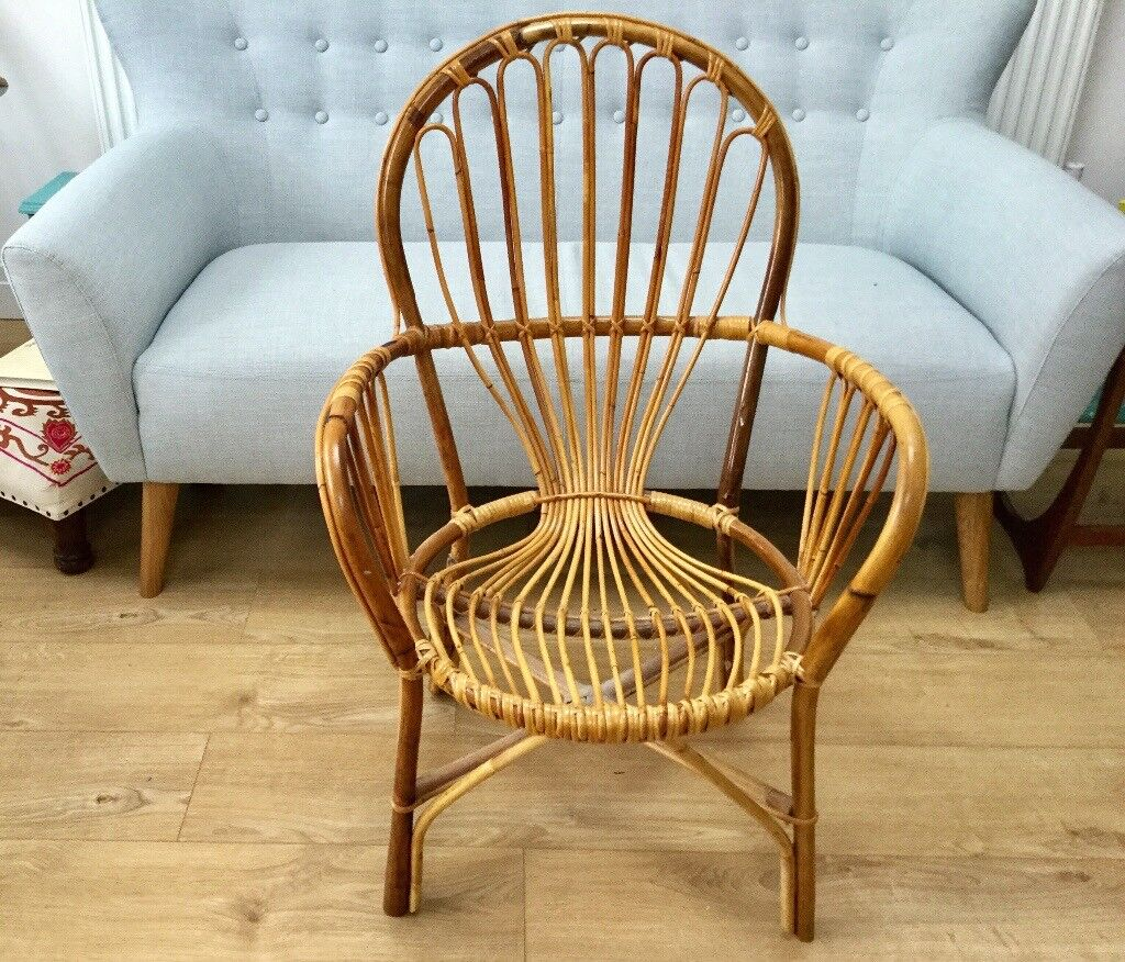 VINTAGE 1970s BAMBOO CANE WHICKER TUB CHAIR CONSERVATORY KITCHEN