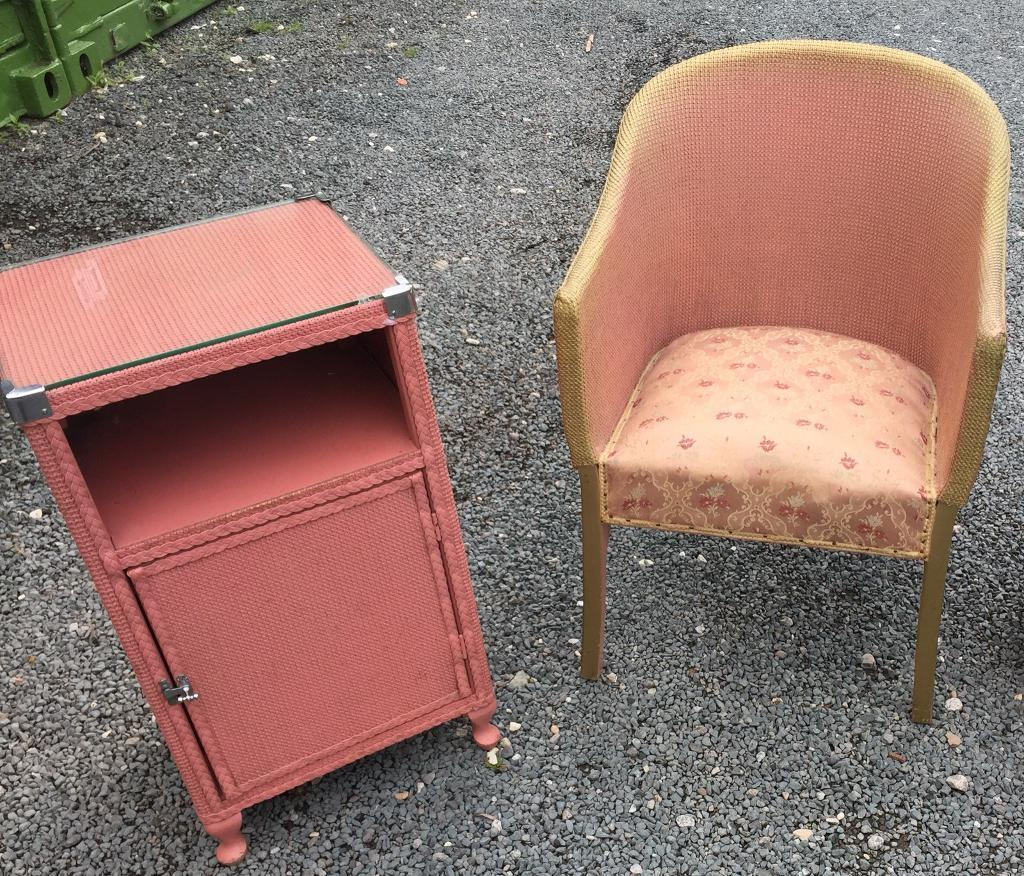 Lloyd loom style bedroom chair and bedside table vintage retro