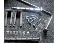 Joblot of slatwall fittinds chrome. Shelf brackets, hooks and rails 180+ items - see list!