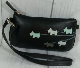 New Genuine Radley Black Leather Walkie's Cute Leather Tote Hand Clutch Bag Handbag Purse