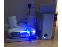 Epson Movie Projector setup with DVD player upscaling, Speakers and screen