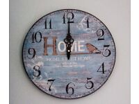 Vintage Style Bird Blue Home Sweet Home Wooden Wall Clock 29cm Shabby Chic