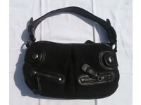 Great Second Hand Authentic Monogrammed DKNY Black Grab Bag with Genuine leather and metal trims