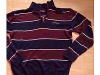Men's Pierre Cardin Burgundy Navy Blue White Striped Quarter Zip Funnel Neck Sweater-Size Large.