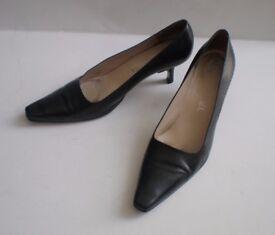 Сhanel Black Leather Shoes Heels, size: UK 5.5 / EU 38.5