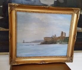 oil painting in ornate gold frame Tynemouth Priory