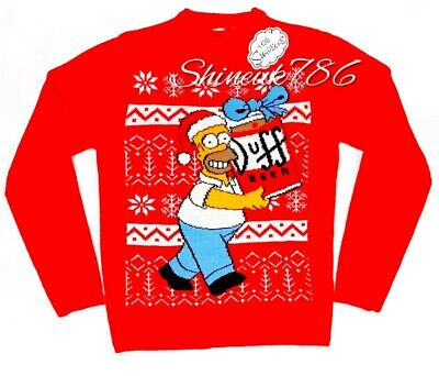 New official The Simpsons Mens Christmas Jumper festive XMAS KNITTED Primark  ()