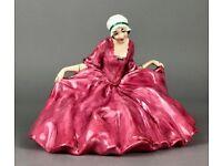 EARLY ROYAL DOULTON -POLLY PEACHUM- BEGGAR'S OPERA FIGURE HN549 GIRL PINK DRESS