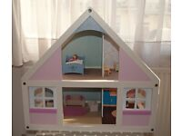 ELC Wooden Dolls house, Decorated (some furniture)