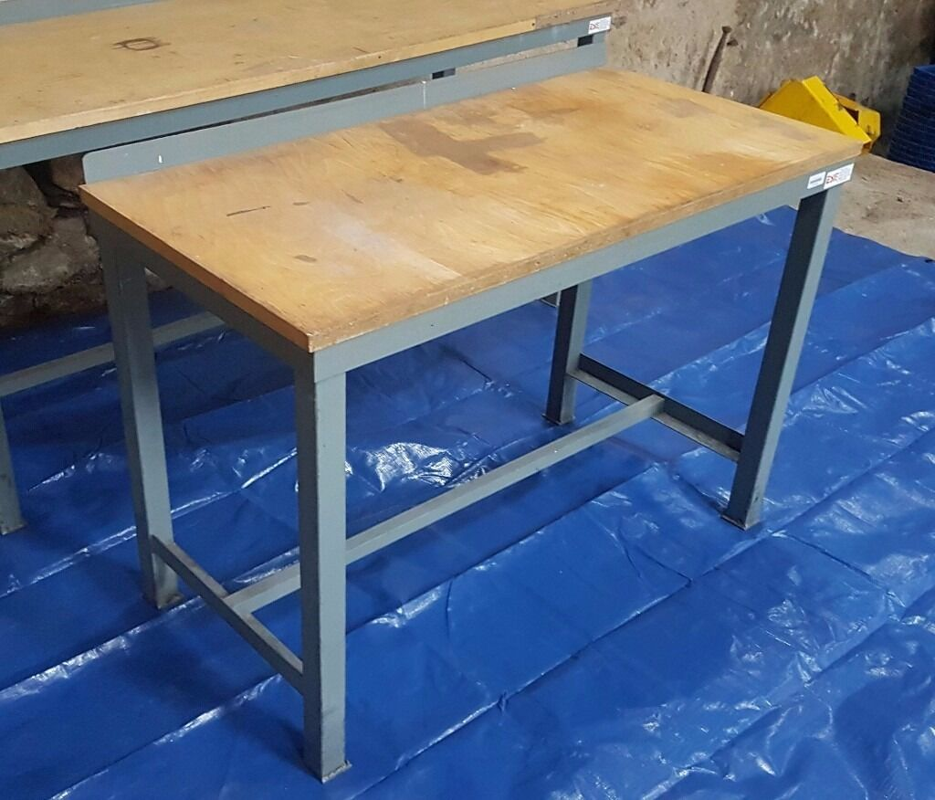 Heavy Duty Metal Frame Wood Top Work Bench Workbench
