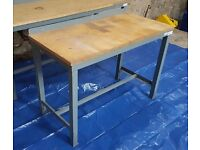 Heavy Duty Metal Frame Wood Top Work Bench Workbench Workshop Table Desk