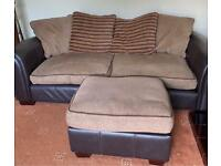 Large brown couch sofa settee with stool