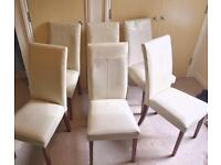 Dining Chairs, 6 Real, High End, Leather Dining Chairs