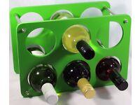 Wine Bottle Rack- 6 Bottle Holder storage Beautiful Gift Green Free Standing