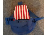 Pirate ship light shade - blue with red and white sail