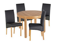 EX DISPLAY Clifton Extendable Table & 4 Chairs - Black