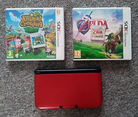 Red 3DS XL + Zelda, Animal Crossing, and Mario