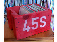 "Upcycled Repurposed 7"" 45RPM Vinyl Wooden Vintage Storage Box Crate - Holds 60-70 Records"