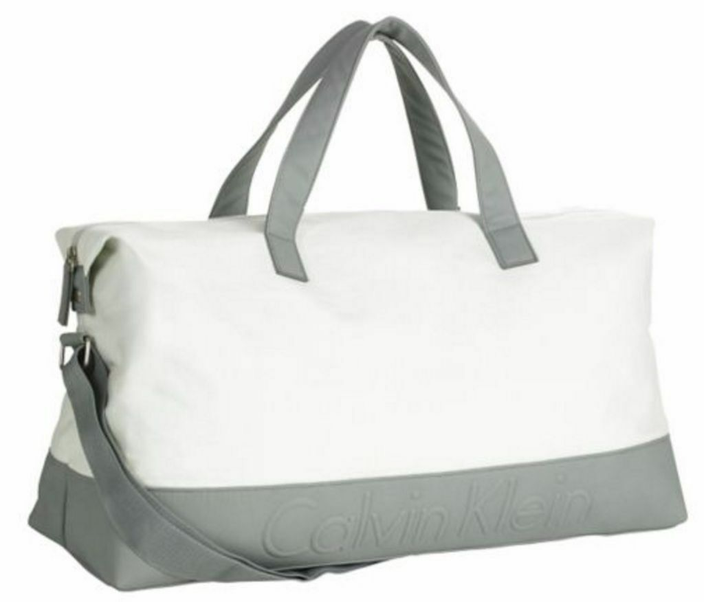 Calvin Klein Gray White Mens Duffle Bag Holdall Brand New With Tags