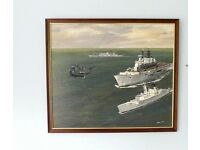 Original Naval Oil Painting of HMS Battleaxe F89 Exeter D89Invincible D89 Painted by R Adler 1987