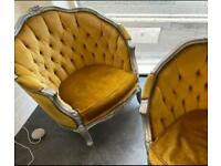 Pair of Louis style club chairs.