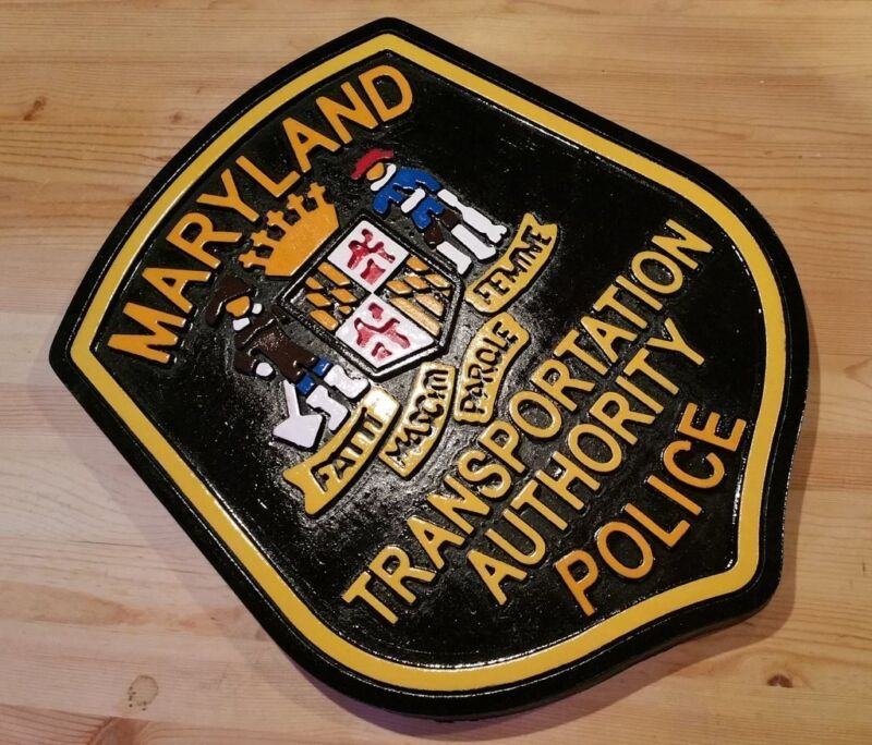 Police Maryland Transportation 3D routed wood patch sign plaque Custom Carved