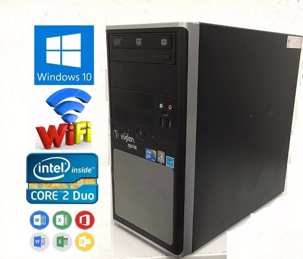 Viglen Genie Core 2 Duo E7500 93ghz 4gb Ram 250gb W10 Wifi Dvd Prosesor Intel C2d
