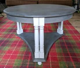 Vintage Coffee Table Handpainted in Black and Grey