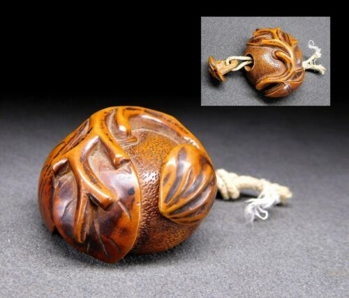 Rare style NETSUKE Mandarin & Chestnut 19thC Japanese Edo Antique for Inro