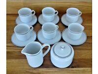 ALFOLDI HUNGARIAN PORCELAIN COFFEE SET SIX CUPS AND SAUCERS/MILK JUG /SUGAR BOWL