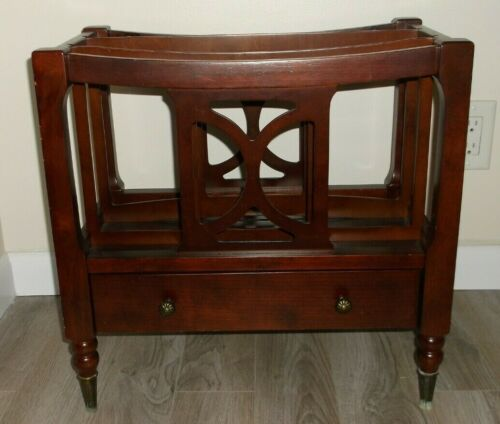 ANTIQUE ENGLISH CANTERBURY STYLE THE BOMBAY COMPANY WOOD MAGAZINE STAND