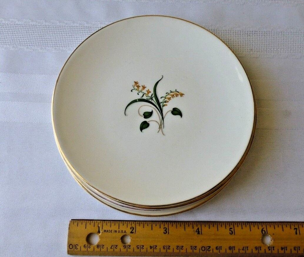 Vintage Edwin Knowles China Forsythia Bread Butter Plate Set Of 4 Discontinued - $10.95