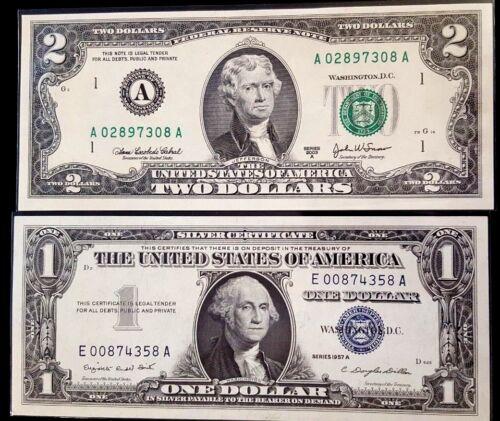 2 Crisp U.S. notes,1 Silver Certificates & 1 Federal Reserve Note