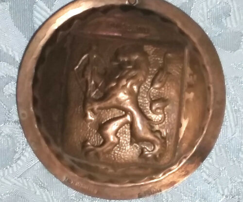 VINTAGE lion MOLD COPPER TIN S.FONG  signed  MADE IN SWEDEN