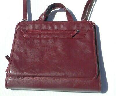 Foray Zippered Briefcase Laptop Portfolio Organizer Planner Red Burgundy 3 Ring