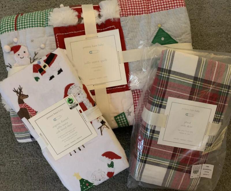 NWT Pottery Barn Kids 3Pc ~JOLLY SANTA~ TODDLER QUILT Sheet CRIB SKIRT CHRISTMAS