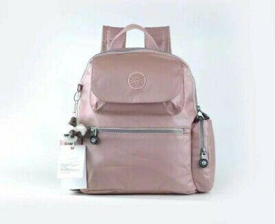 Ladies BNWT Kipling Backpack Rucksack pink blush / rose gold With Monkey Keyring