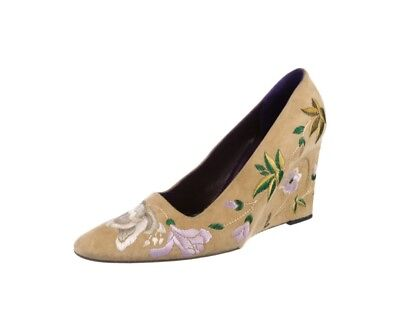 VTG FENDI WOMENS TAN SUEDE EMBROIDERED WEDGE HIGH HEEL PUMPS SIZE 8.0 Tan Suede High Heel Pumps