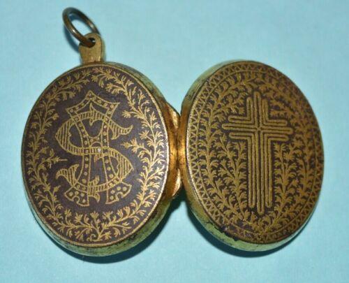 Antique Gold Colour Mourning Pendant Locket Victorian with Original Photo Child