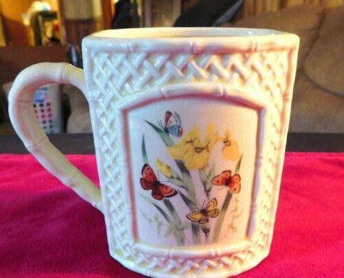 Beautiful Vintage 1978 Enesco Butterfly Garden Trellis Coffee Mug FREE Ship!