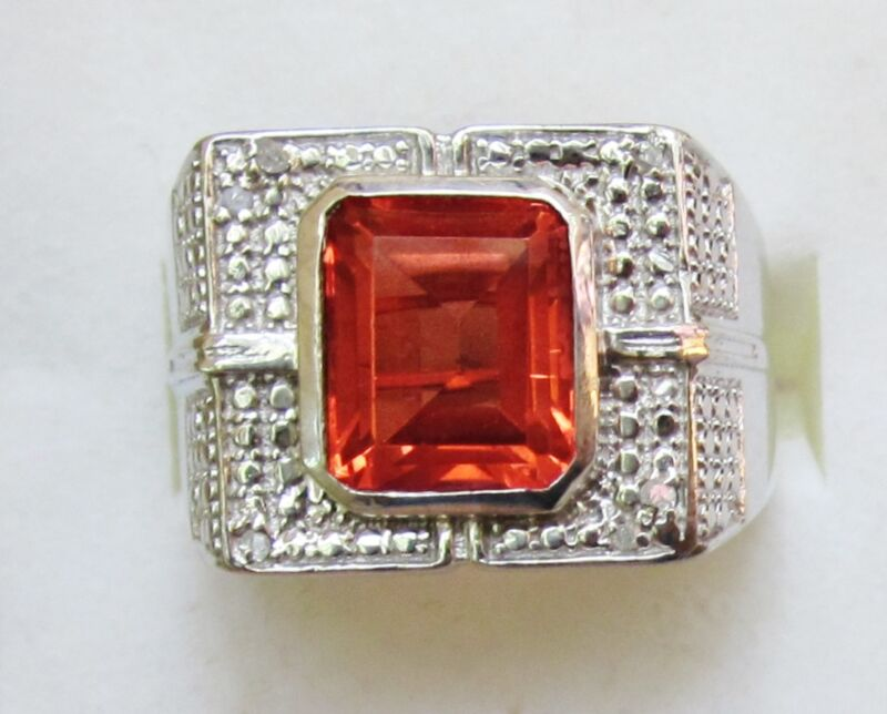 Sunfire Quartz & Diamond Ring in Sterling Silver, size 11 --  5.54 cts, 12.1 g
