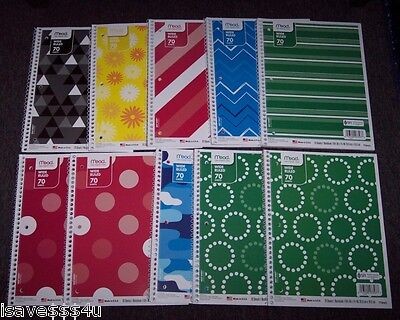 10 New Asst Mead Wide Ruled One Subject Spiral Notebooks - 70 Sheets Ea Notebook