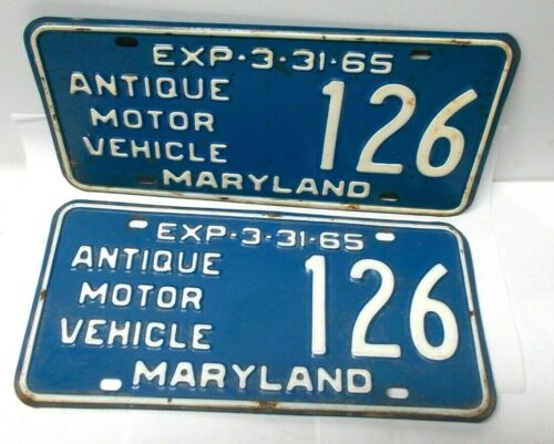 Vintage 1964-65 Maryland Antique Motor Vehicle License Plate Set