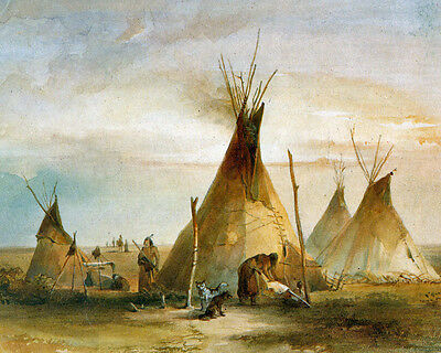(Native American Sioux Indians Teepee Painting 8x10 Real Canvas Fine Art Print )