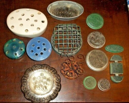 Vintage Lot Of 16 FLOWER FROGS Metal Cage Spikes Glass Assorted Sizes pottery
