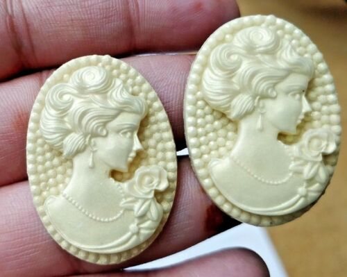 Loose Victorian Italian Hand-carved Roma Prince Cameo Pair 36X26 MM Jewelry Gift
