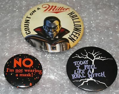 Trio HALLOWEEN Pins 1995 Miller COUNT+Not Wear A MASK+1988 Feel Like A WITCH PIN