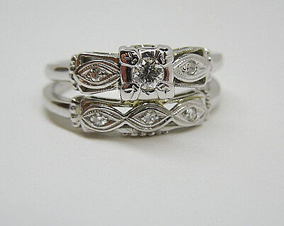 18k Antique Vintage White Gold Diamond  Engagement Ring Set