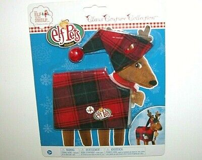 NIP NEW Elf on the Shelf Pets Red Black Plaid Reindeer Outfit